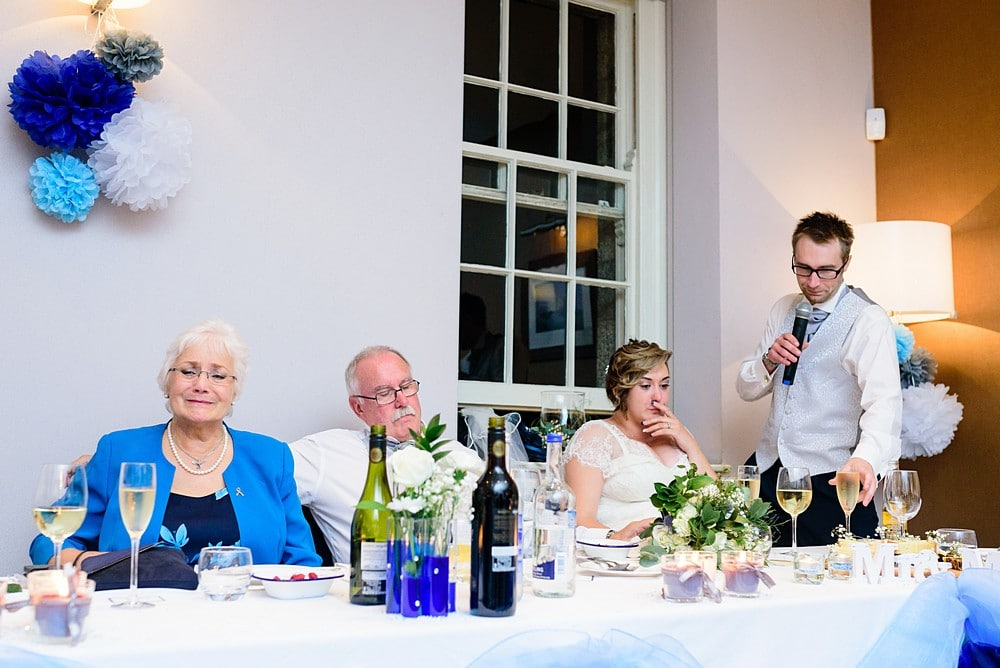 Wedding speech by the groom at Pendennis Catle