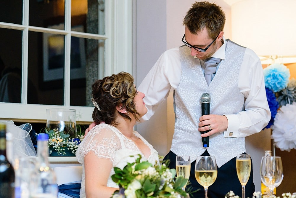 wedding speech by the groom at a Pendennis Castle wedding in Falmouth