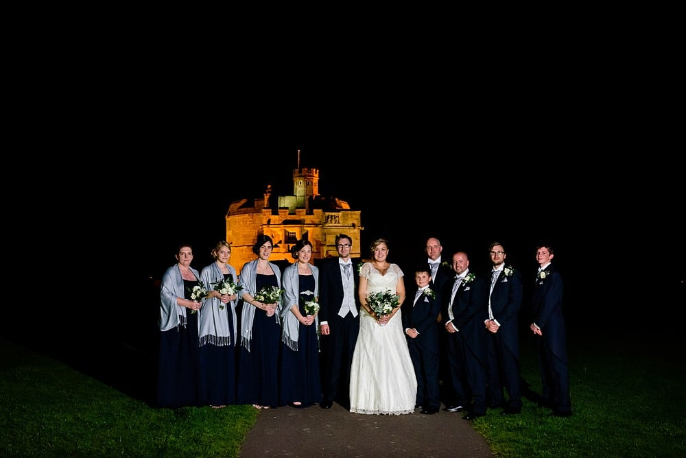 wedding group photograph outside Pendennis Castle