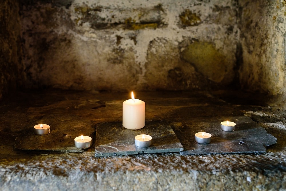 Candles at a Pendennis Castle wedding 16