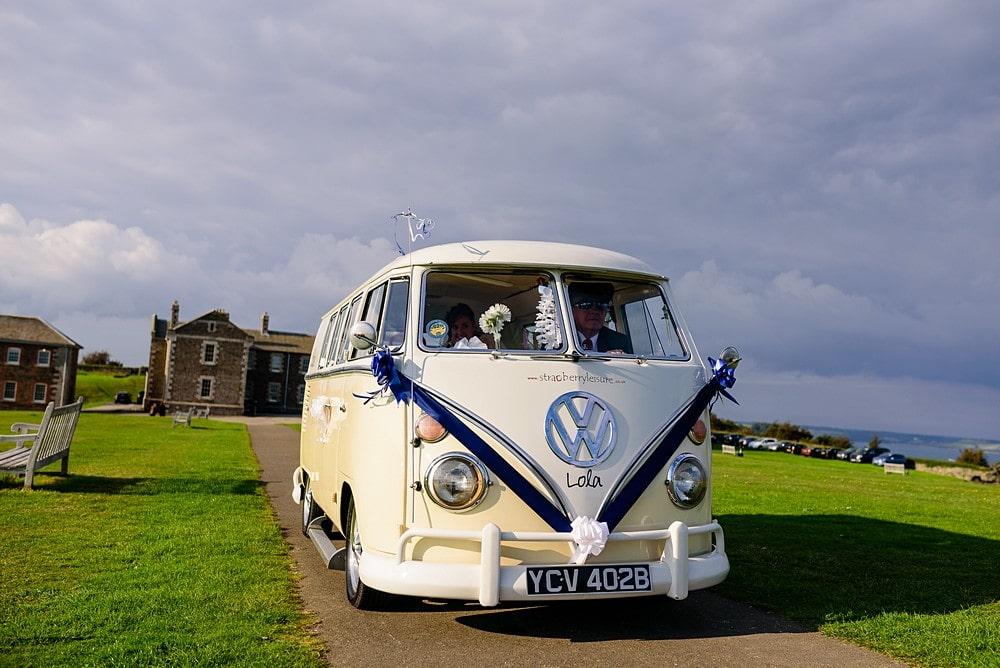 Bride arriving for her wedding at Pendennis Castle 21