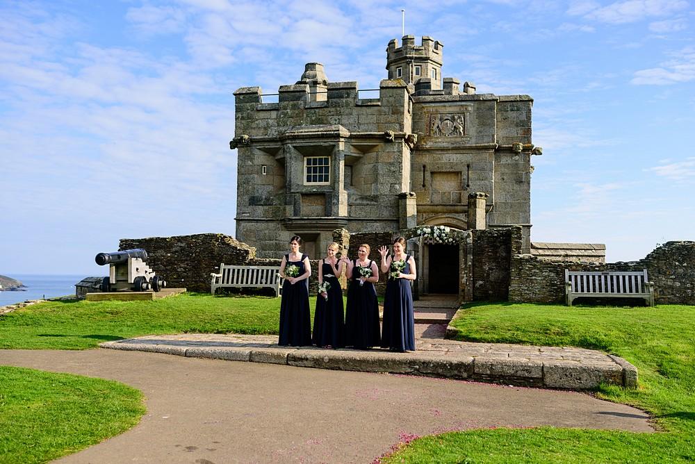 Bridesmaids outside Pendennis Castle 22