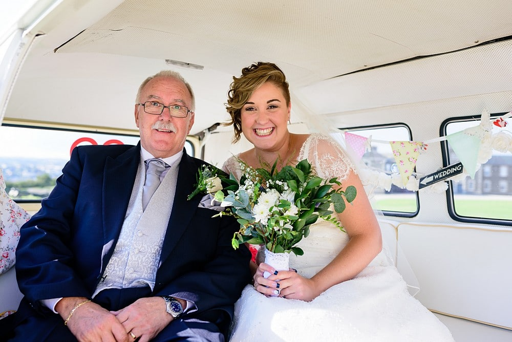 Bride and father inside Strawberry leisure campervan