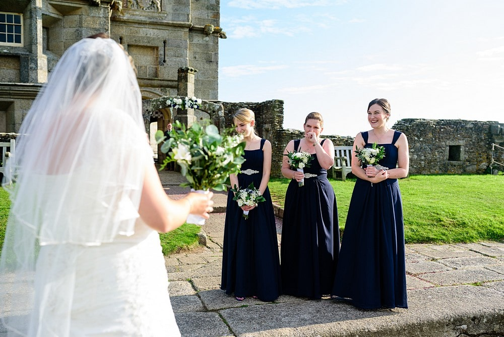Excited bridesmaids at Pendennis Castle 24