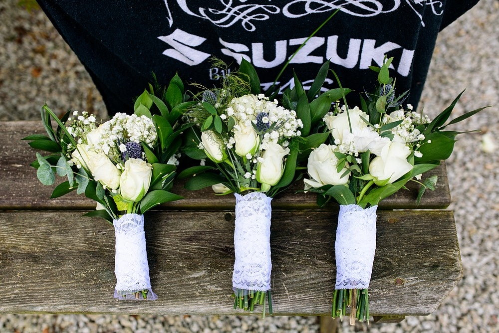 Wedding flowers at a Pendennis Castle wedding