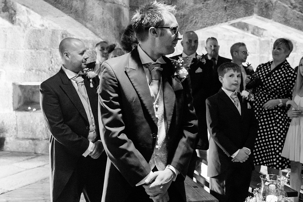 Groom waiting for his bride at Pendennis Castle 30