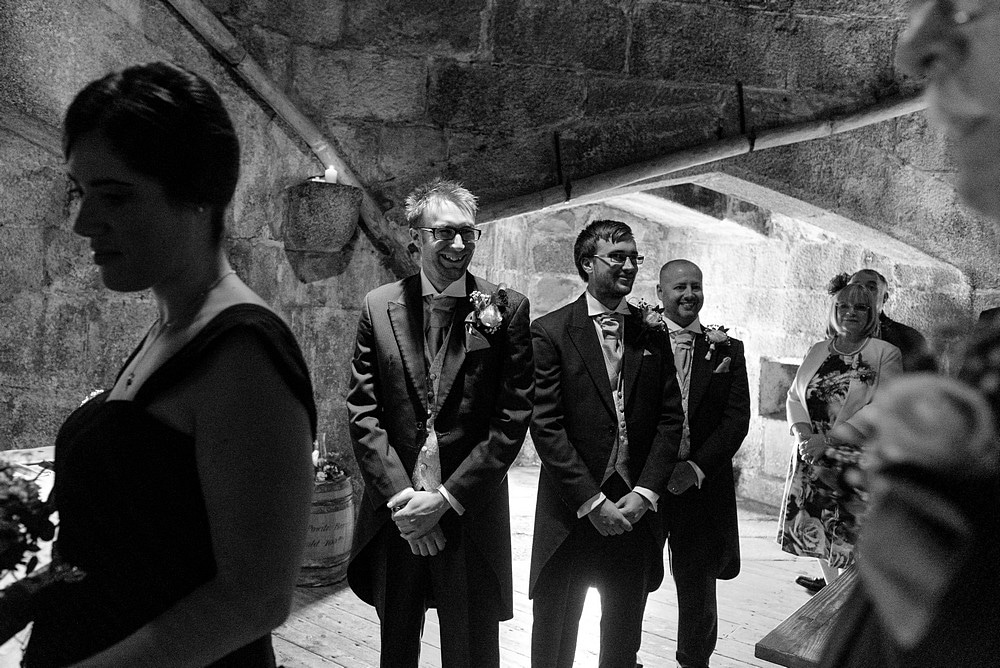 Happy groom to see his bride at Pendennis Castle
