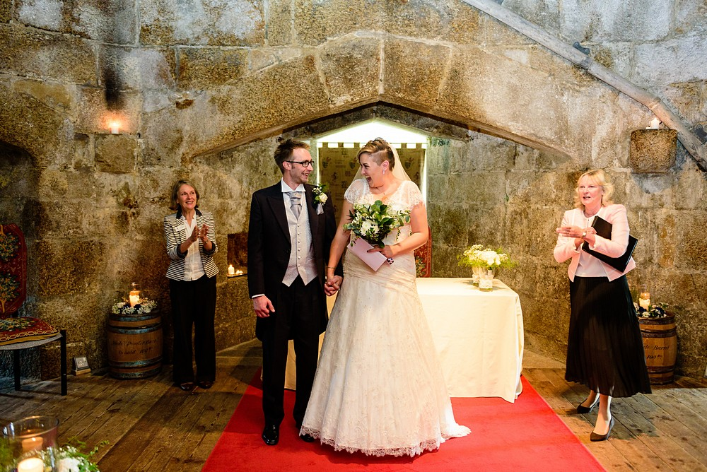 Walking down the aisle at pendennis castle 56