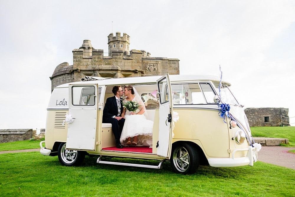 Vintage VW campervan at Pendennis Castle in Falmouth 72