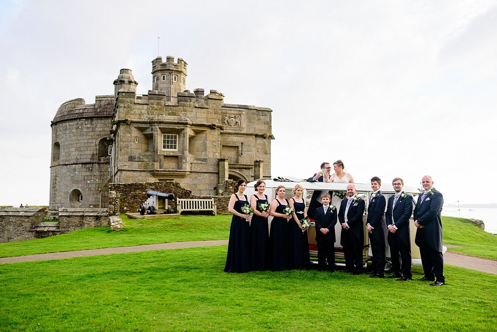 group wedding photographs outside Pendennis Castle 73