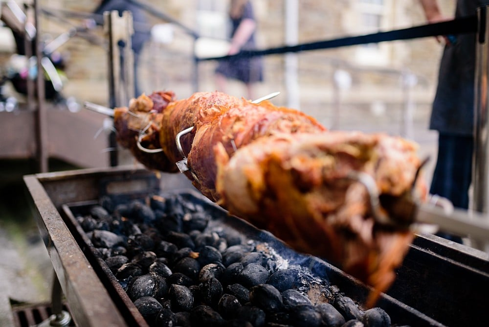 Hog roast at a Pendennis Castle wedding