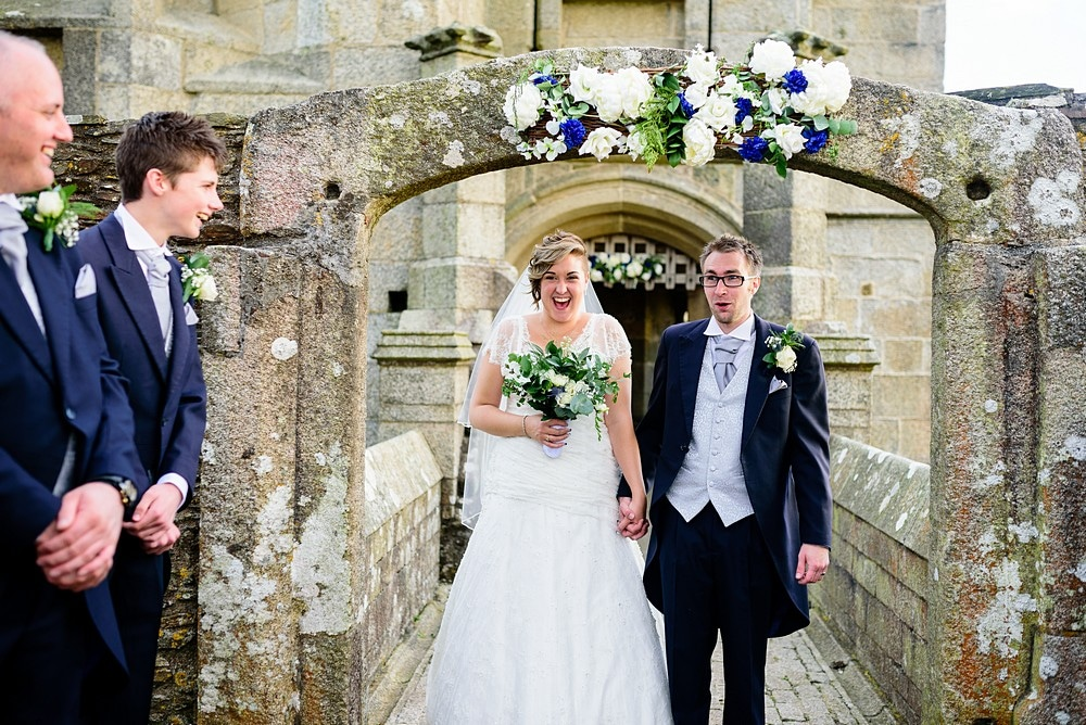 confetti wedding photography at Pendennis Castle