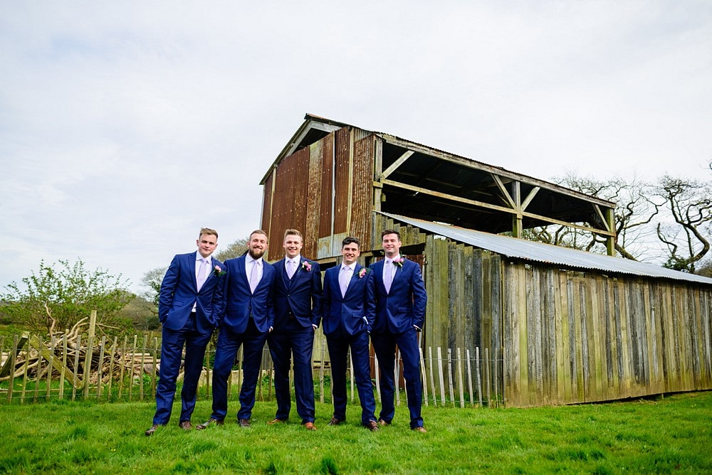 Cool photograph of the Groomsmen outside the Metel Shed at Nancarrow Farm 109
