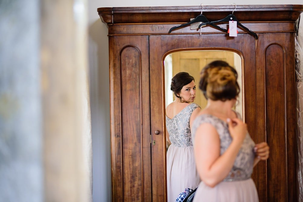 Bridesmaids getting ready at Nancarrow farm