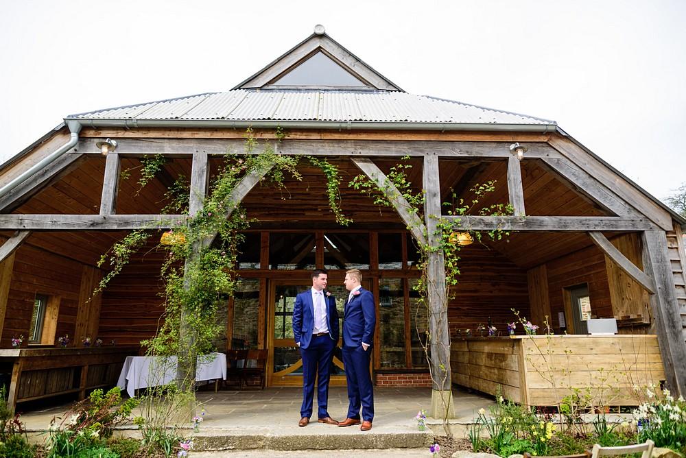 The groomsmen before at the Oak Barn at Nancarrow Farm 13