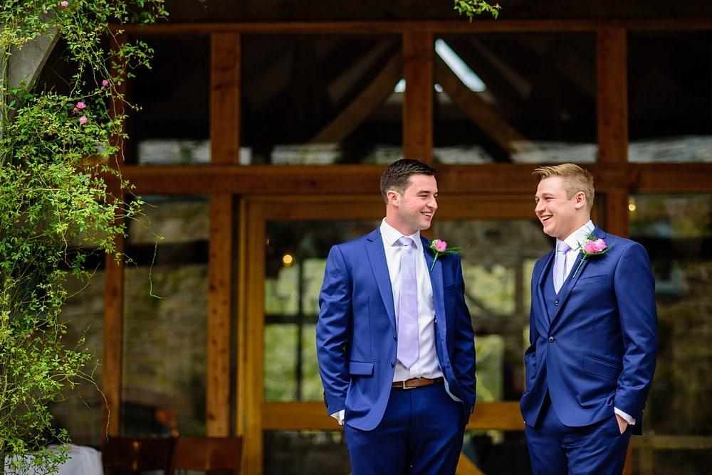 The groomsmens enjoying a wedding at Nancarrow Farm 14
