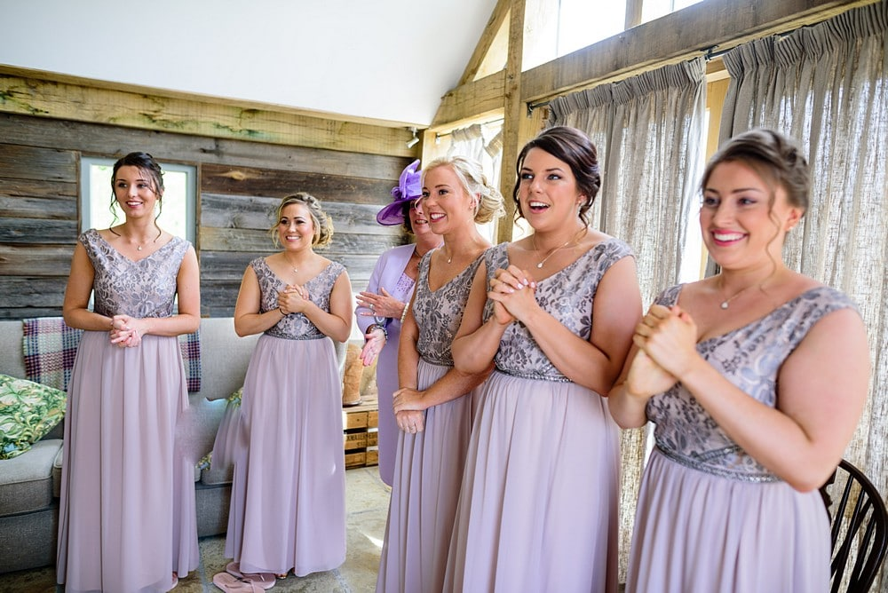 Excited bridesmaids at a Nancarrow Farm wedding 16