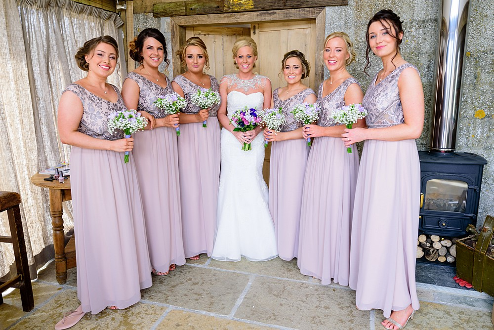 Bride with her Bridesmaids at Nancarrow Farm 17