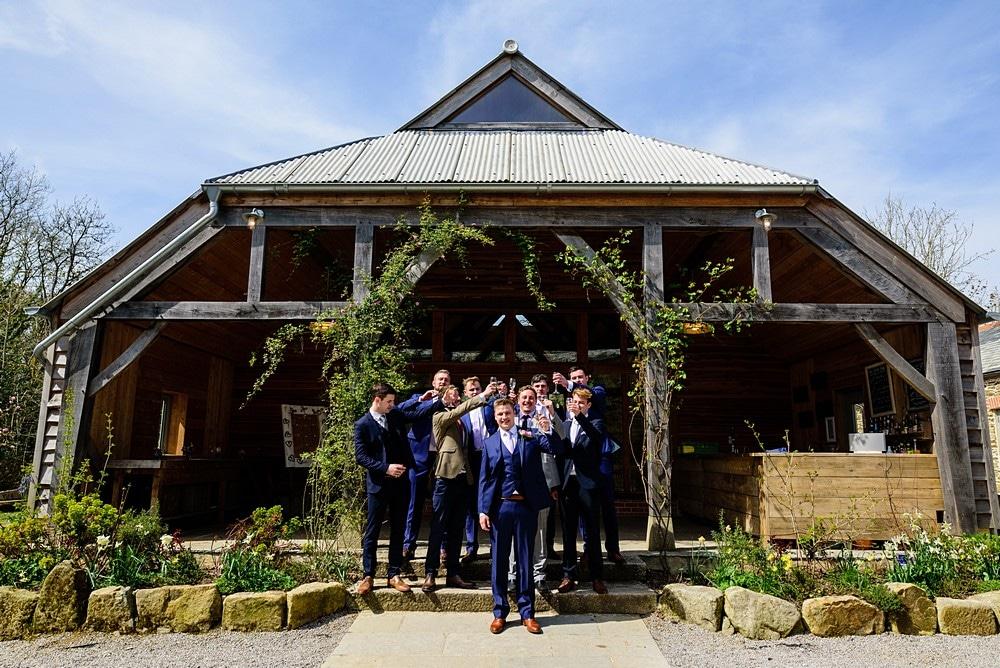 Fun shot of the groomsmen at Nancarrow Farm 50
