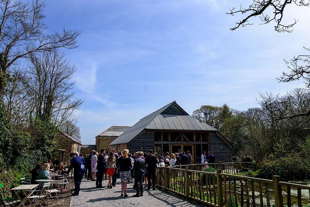Wedding guests enjoying a wedding at Nancarrow Farm 53