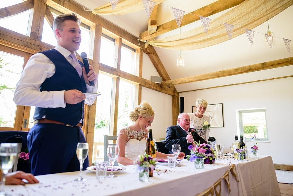 Grooms wedding speech at Nancarrow Farm 77