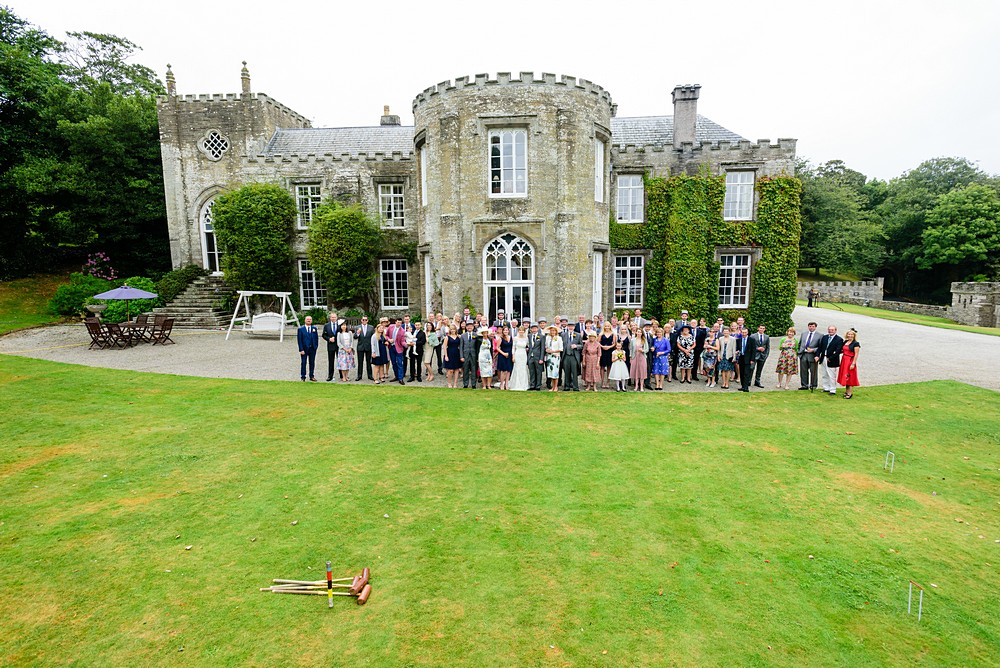 Group wedding photograph at Prideaux Place 114