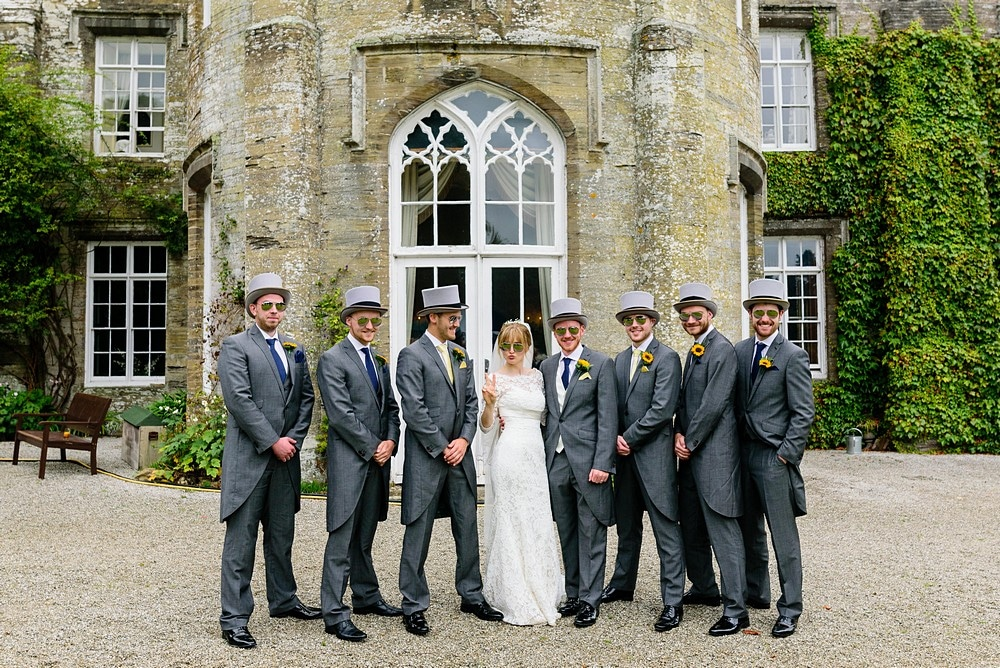 Bridal party wedding photograph at Prideaux Place in Padstow 117