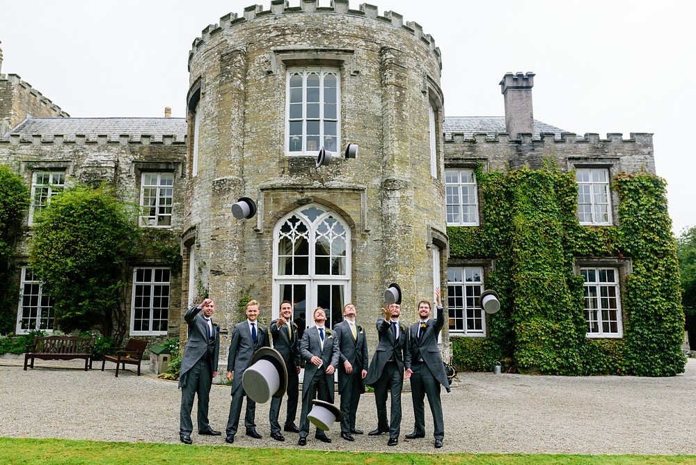 Groomsmen wearing top hat and tails at a Prideaux Place wedding 120