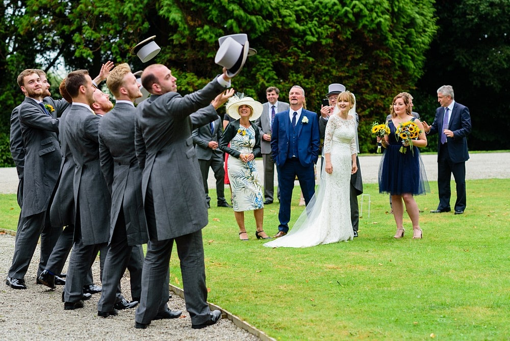 Groomsmen wearing top hat and tails at a Prideaux Place wedding 121