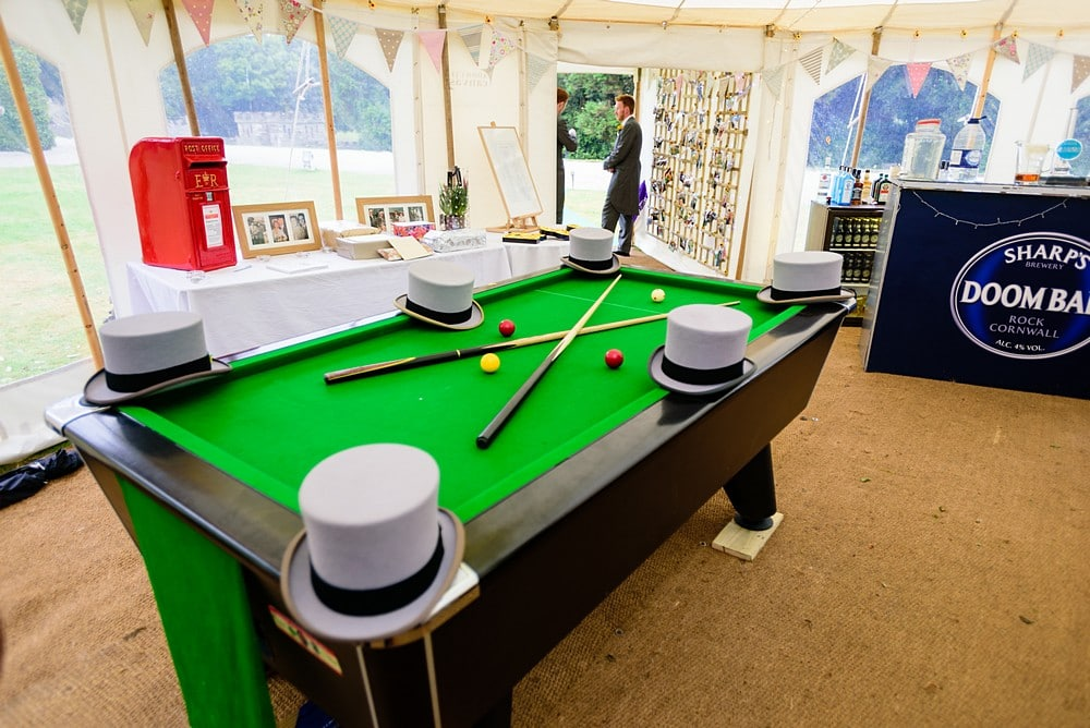 Pool table in a wedding marquee in Cornwall 122