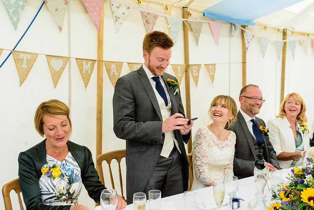 Grooms wedding speech at his Prideaux Place wedding 135