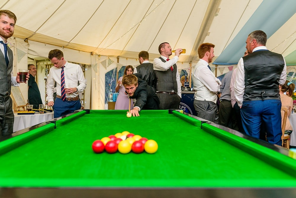 Pool table at a wedding in Cornwall 150