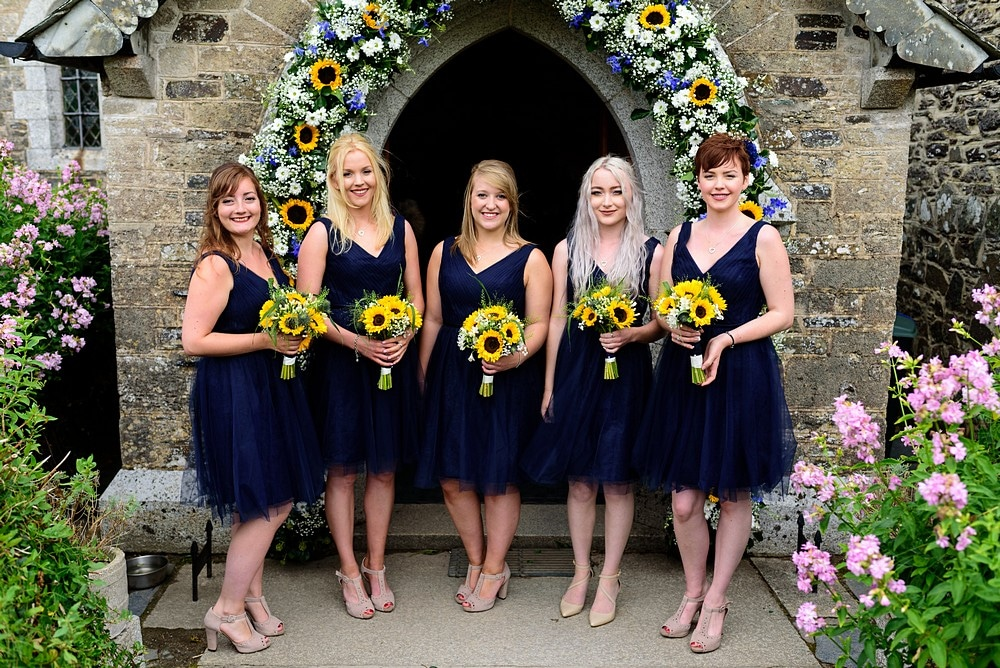 Bridesmaids at St Enodoc's Church 40