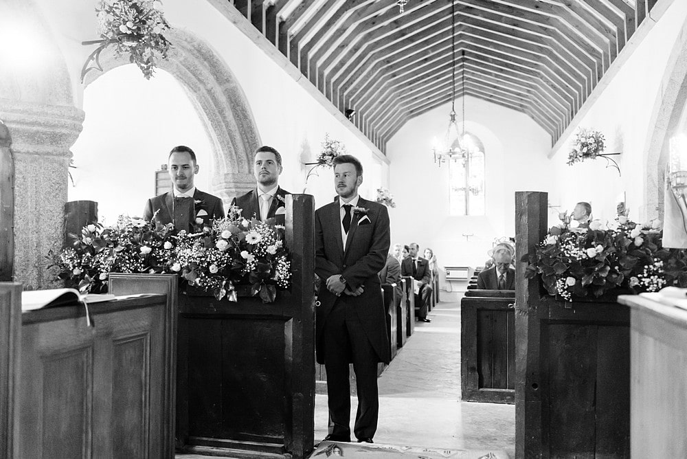 Groom waiting for the bride at St St Enodoc's Church 46