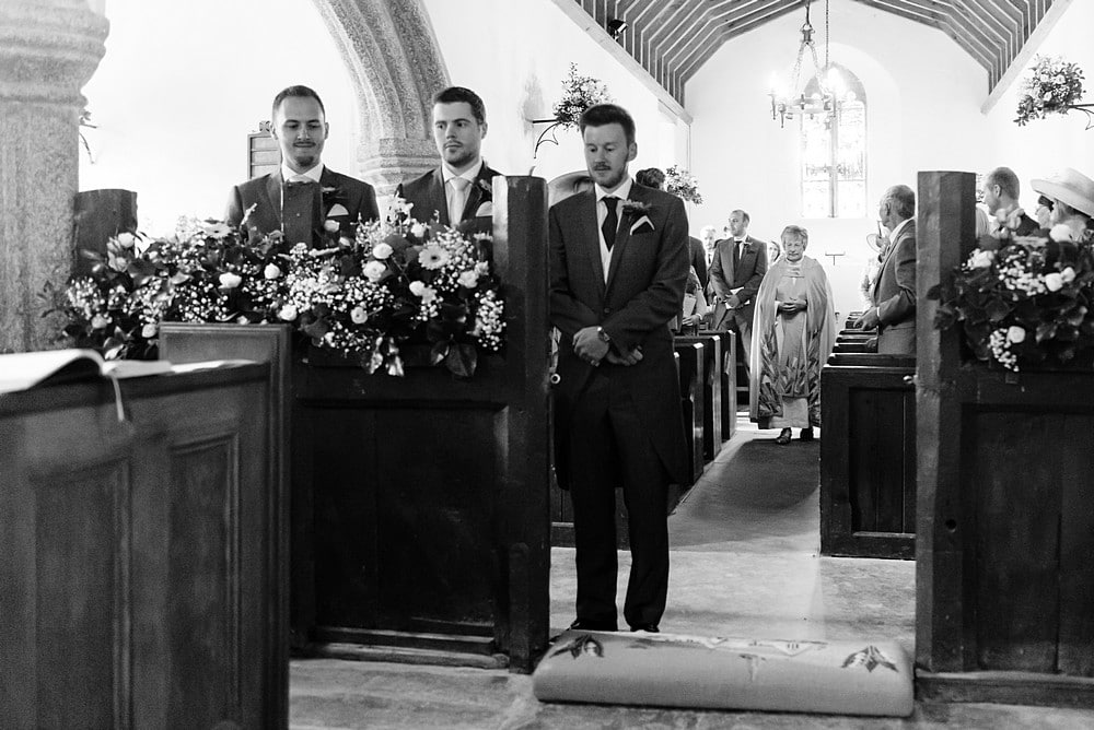 Groom waiting for the bride at St St Enodoc's Church 47