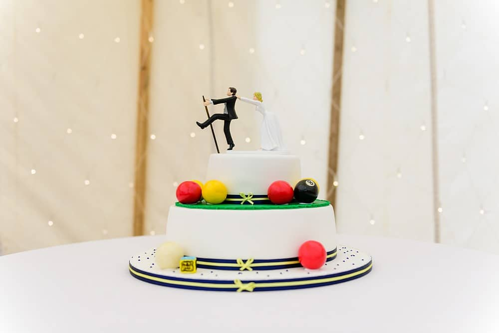 snooker themed wedding cake at Prideaux Place 87