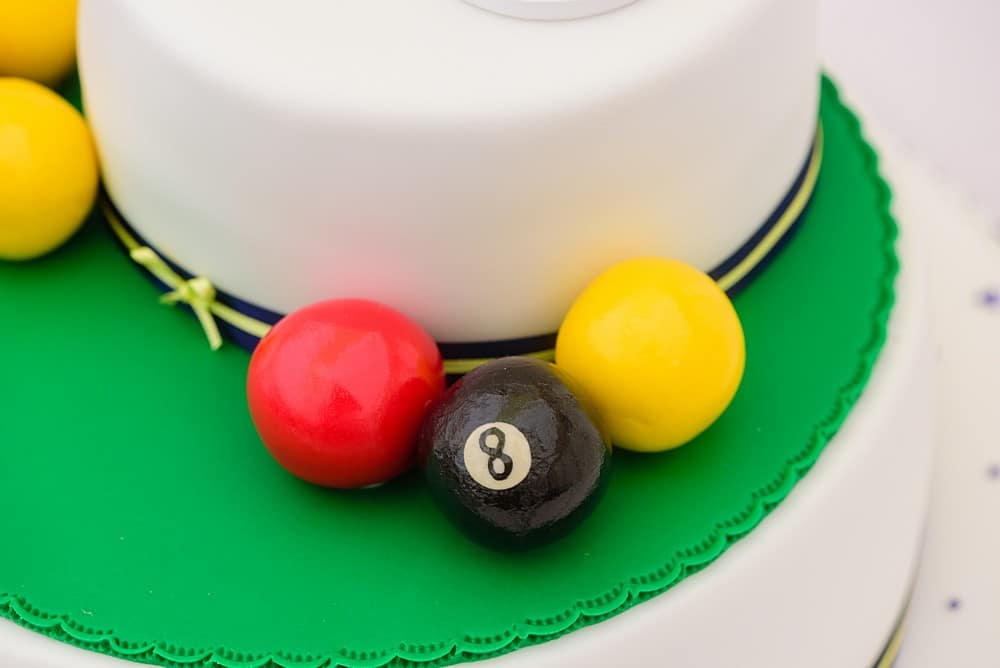pool balls on a wedding cake in Prideaux Place 88