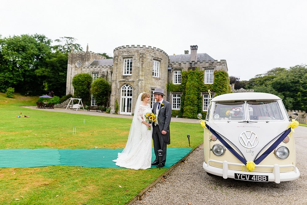 Bride and groom at Prideaux Place wedding 89