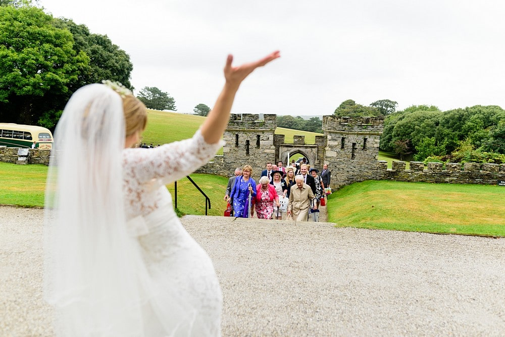 Bride greeting her guests at Prideaux Place 94