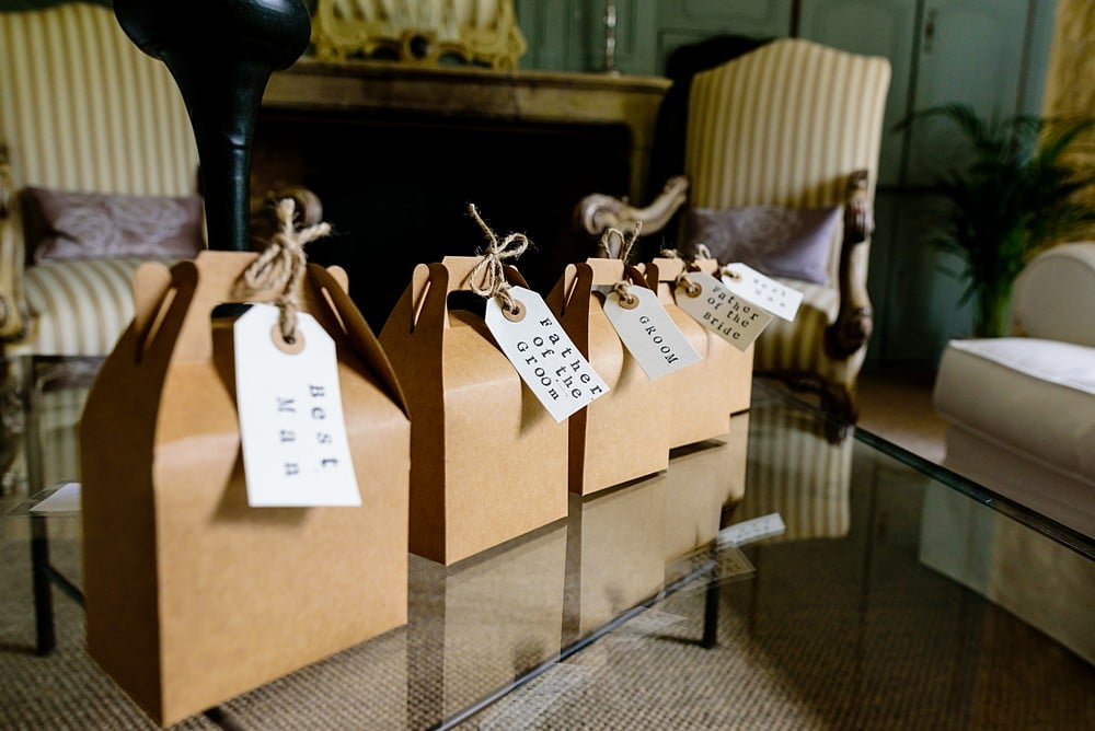 Presents for the groomsmen at Chateau Forge Du Roy 22