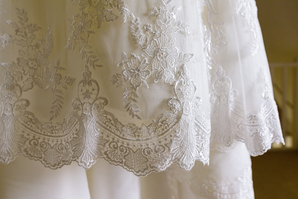 Lace wedding dress at Chateau Forge Du Roy 4