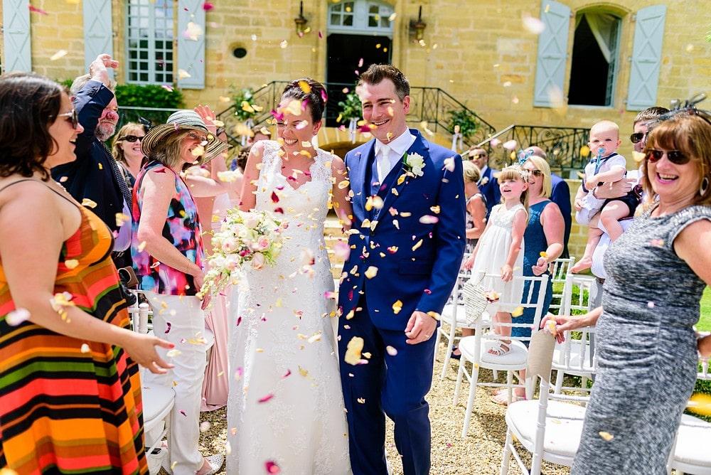 Wedding confetti at Chateau Forge Du Roy 54