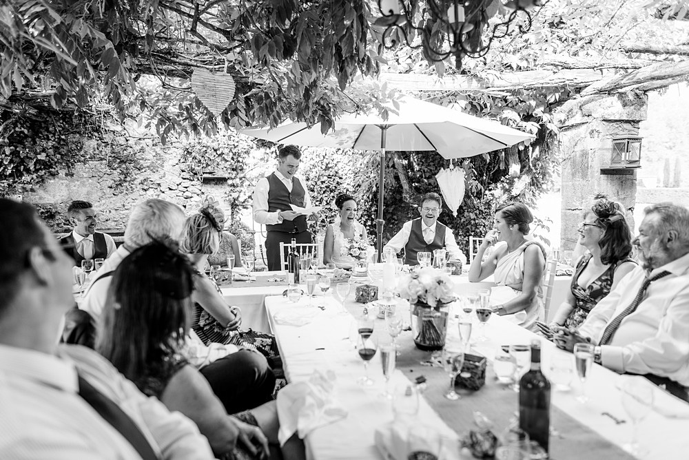 Grooms wedding speech at Chateau Forge Du Roy 83