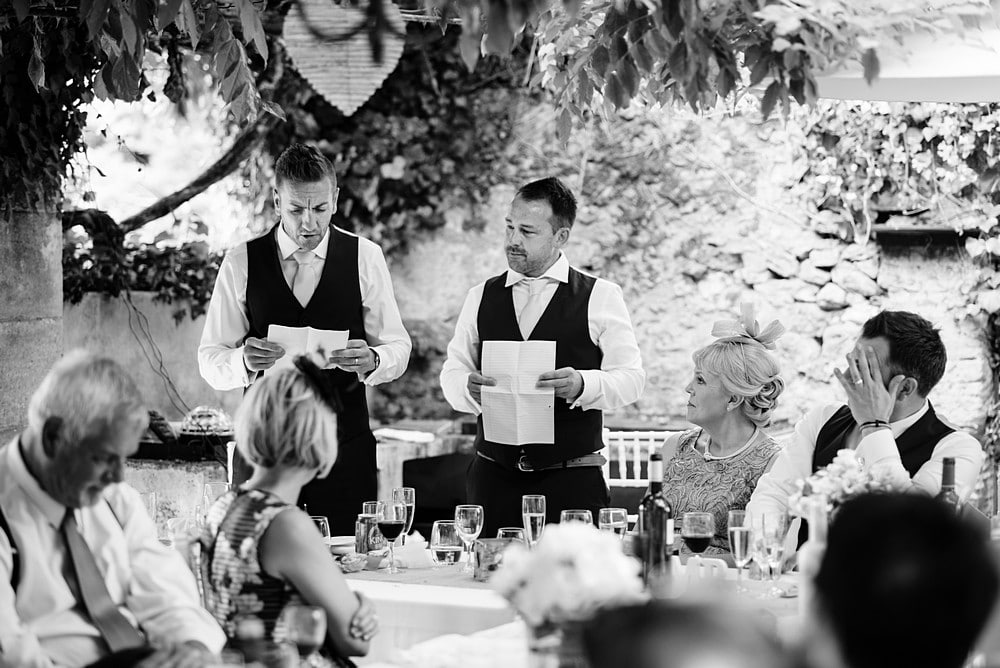 Best men wedding speeches at Chateau Forge Du Roy 88