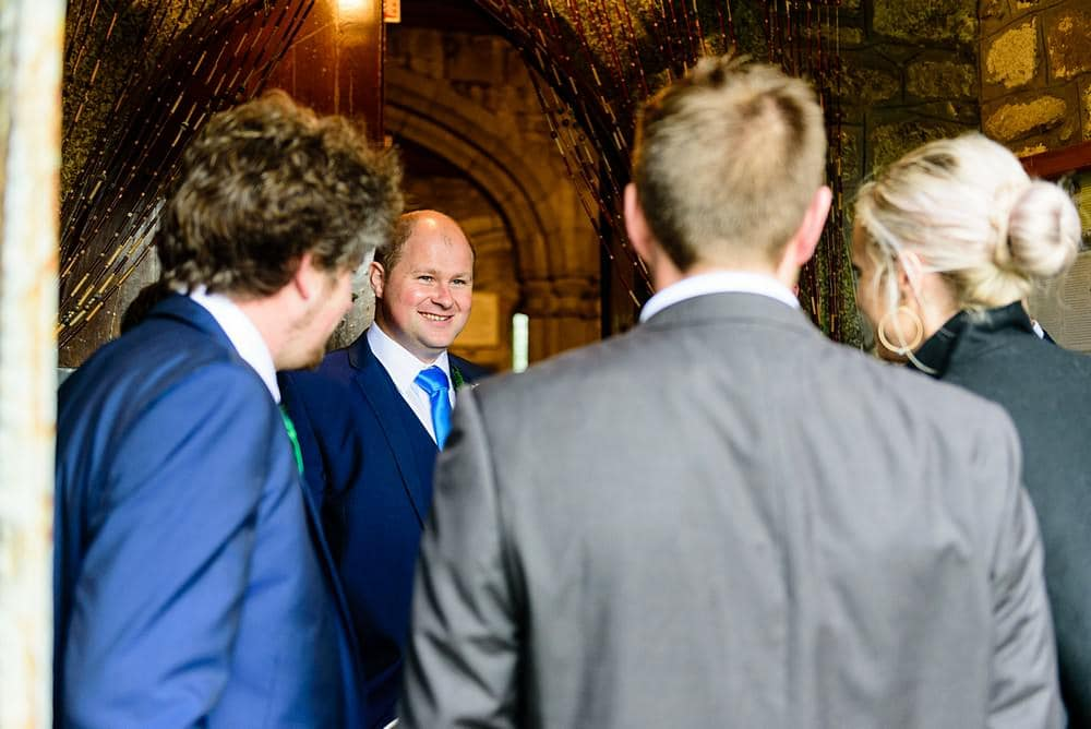 Groom getting married at Ludgvan Parish Church