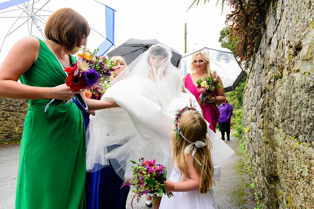 Bride getting married at Ludgvan Parish Church