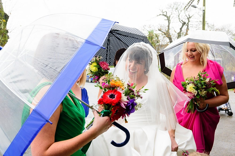 Bride with her bridemaids at Ludgvan Church