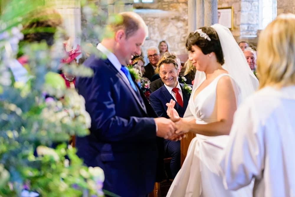 Wedding vows at Ludgvan Parish Church