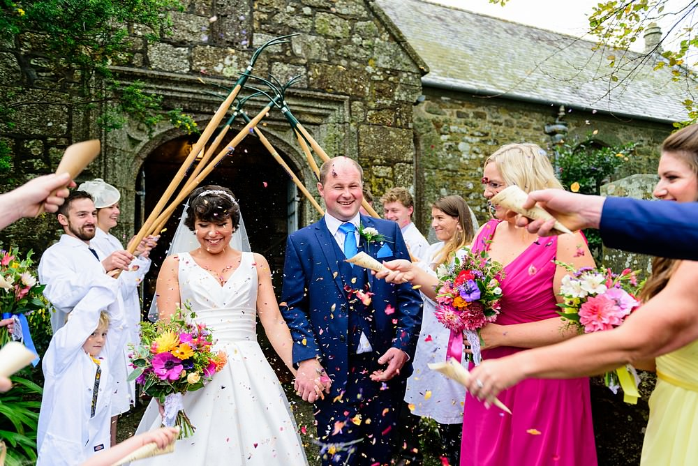 Wedding confetti at Ludgvan Church 1