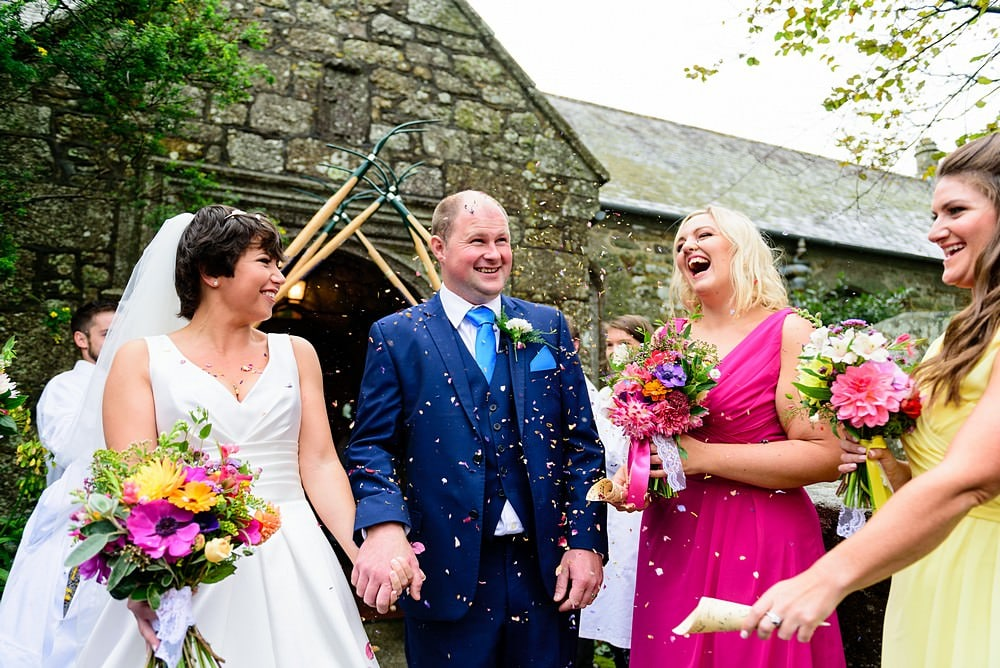 candid confetti photography in Cornwall